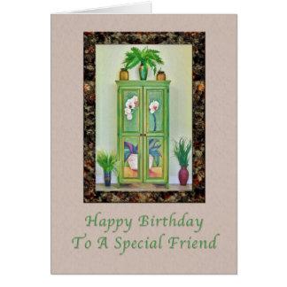Cumpleaños, amigo, aún vida con el gabinete tarjeta de felicitación