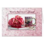 Cumpleaños - amigo - color de rosa/taza/libro tarjeta