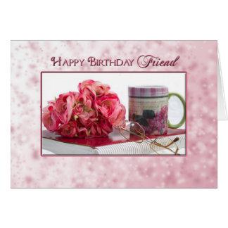 Cumpleaños - amigo - color de rosa/taza/libro tarjeta de felicitación