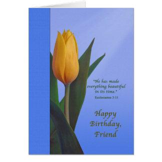 Cumpleaños, amigo, flor de oro del tulipán tarjeta de felicitación