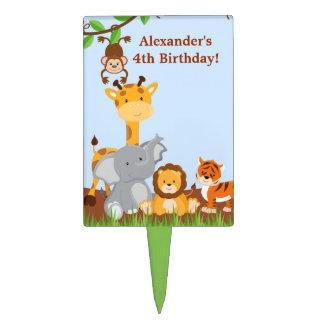 Cumpleaños animal Cakepick del muchacho de la selv