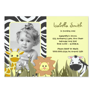 """Cumpleaños animal de la foto de la selva linda invitación 4.5"""" x 6.25"""""""