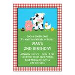 Cumpleaños animal de los amigos del corral invitación 12,7 x 17,8 cm