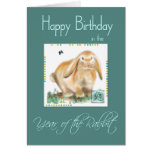 Cumpleaños-Año feliz de conejo/de liebres Tarjeta De Felicitación