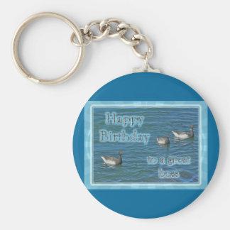 Cumpleaños atlántico de Boss de los gansos de barn Llavero Redondo Tipo Pin