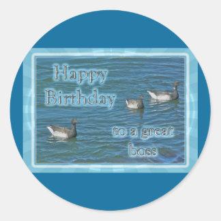 Cumpleaños atlántico de Boss de los gansos de Pegatina Redonda