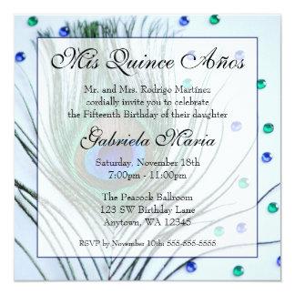 """Cumpleaños atractivo azul de Quinceanera de la Invitación 5.25"""" X 5.25"""""""