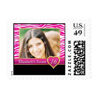 Cumpleaños atractivo del dulce dieciséis del timbre postal