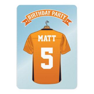 """Cumpleaños azul anaranjado del jersey del fútbol invitación 5"""" x 7"""""""