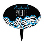 Cumpleaños azul Cakepick del dulce 16 del corazón  Palillos De Tarta