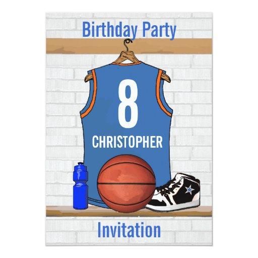 Cumpleaños azul claro y anaranjado del jersey del invitación 12,7 x 17,8 cm