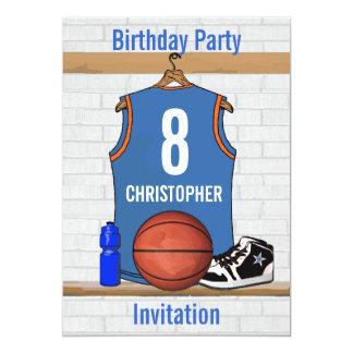 """Cumpleaños azul claro y anaranjado del jersey del invitación 5"""" x 7"""""""