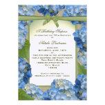 Cumpleaños azul de la fiesta de jardín del Hydrang Comunicado Personalizado