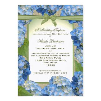 Cumpleaños azul de la fiesta de jardín del invitación 12,7 x 17,8 cm
