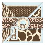 Cumpleaños azul de la jirafa y de la magdalena del invitación 13,3 cm x 13,3cm