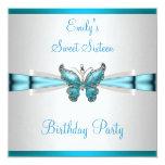 Cumpleaños azul de la mariposa del trullo del invitación 13,3 cm x 13,3cm