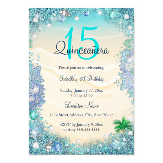 """Cumpleaños azul de la playa del océano de la arena invitación 5"""" x 7"""""""