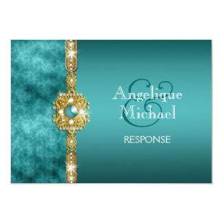 Cumpleaños azul del compromiso del boda del oro invitación 12,7 x 17,8 cm