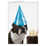 Cumpleaños azul del gorra tarjeta