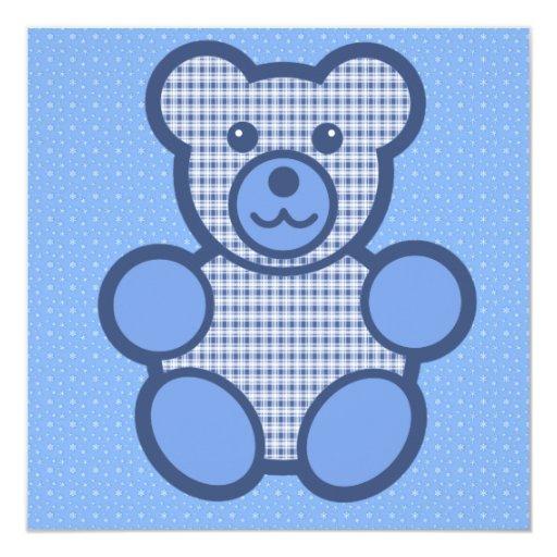 """Cumpleaños azul del oso de peluche de la tela invitación 5.25"""" x 5.25"""""""