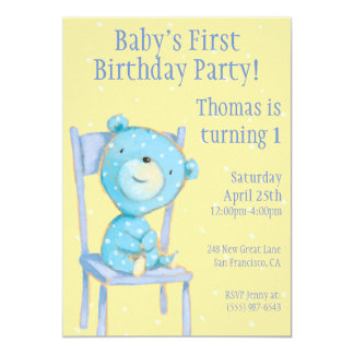 """Cumpleaños azul del oso del calicó invitación 5"""" x 7"""""""