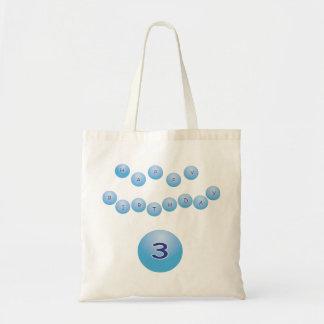 Cumpleaños azul para la edad 3 del muchacho bolsa tela barata