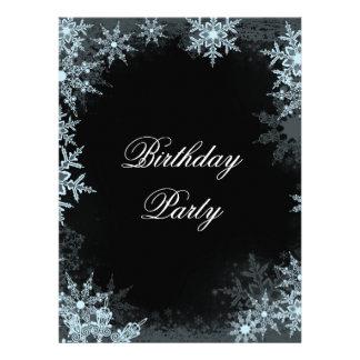 Cumpleaños azul Prty del copo de nieve del inviern Comunicado Personalizado