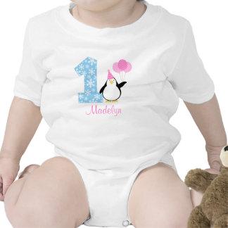 Cumpleaños azul rosado de Onederland del invierno Trajes De Bebé