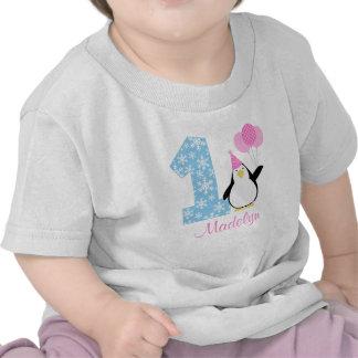 Cumpleaños azul rosado de Onederland del invierno Camiseta