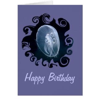 Cumpleaños azul translúcido brillante de las medus felicitacion