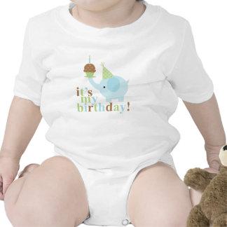 Cumpleaños azul y verde del elefante trajes de bebé