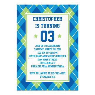 Cumpleaños azul y verde del estilo colegial de Arg Invitación Personalizada