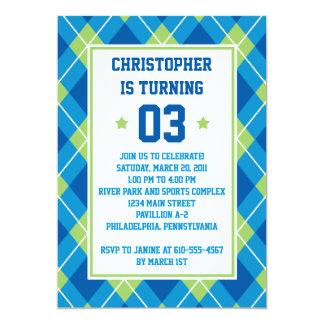 """Cumpleaños azul y verde del estilo colegial de invitación 5"""" x 7"""""""