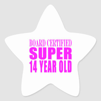 Cumpleaños B. Cert de los chicas. Catorce años Pegatina En Forma De Estrella