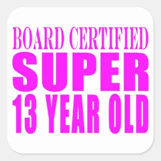 Cumpleaños B. Cert de los chicas. Trece años Calcomanía Cuadradas Personalizadas