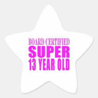 Cumpleaños B. Cert de los chicas. Trece años Pegatina En Forma De Estrella
