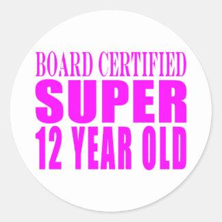 Cumpleaños B. Certified Super de los chicas doce Etiqueta Redonda