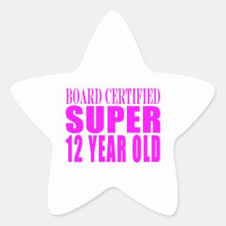 Cumpleaños B. Certified Super de los chicas doce Pegatina En Forma De Estrella