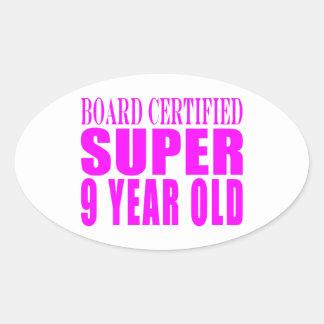 Cumpleaños B. Certified Super de los chicas nueve Colcomanias De Oval Personalizadas
