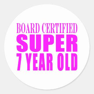 Cumpleaños B. Certified Super de los chicas siete Etiquetas Redondas