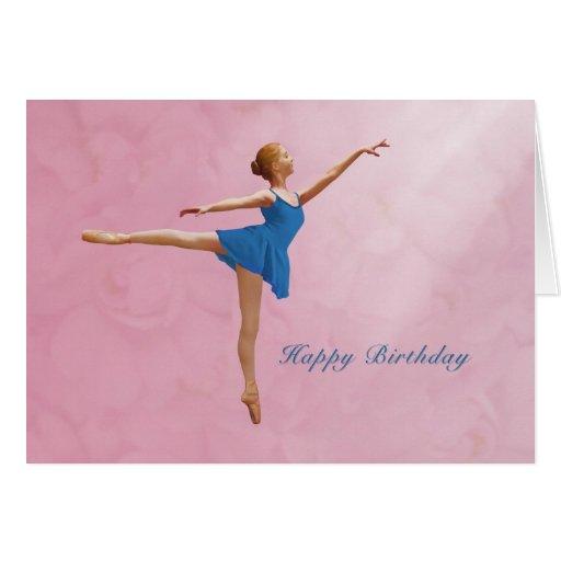 Cumpleaños, bailarina en la posición del Arabesque Tarjeta De Felicitación
