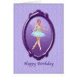 Cumpleaños, bailarina en púrpura y lavanda tarjetas