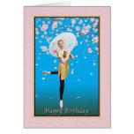 Cumpleaños, bailarina, flores de cerezo felicitación