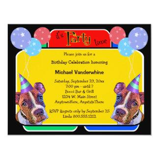 """Cumpleaños Barker de los boxeadores del arte pop Invitación 4.25"""" X 5.5"""""""