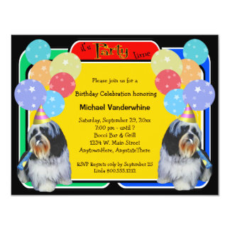 """Cumpleaños Barker de Shih Tzu Invitación 4.25"""" X 5.5"""""""