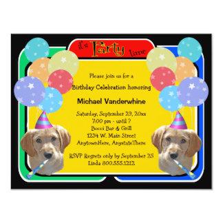 Cumpleaños Barker del perrito de Labradoodle Invitación 10,8 X 13,9 Cm