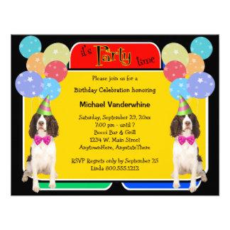 Cumpleaños Barker del perro de aguas de saltador i Comunicado Personalizado