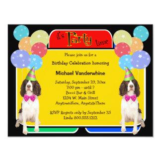 """Cumpleaños Barker del perro de aguas de saltador Invitación 4.25"""" X 5.5"""""""