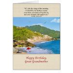 Cumpleaños, bisabuela, playa, colinas, pájaros felicitaciones