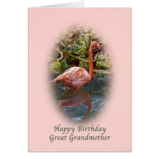 Cumpleaños, bisabuela, tarjeta rosada del flamenco